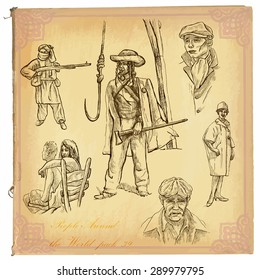 People, Natives around the World (no.39). Collection of an hand drawn vector illustrations (freehand sketching). Each drawing comprises a few layers of lines. Colored background is isolated. Editable.