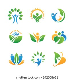 People in nature icons