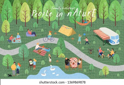People in nature. Vector illustration of people having a rest in a park at a picnic. Drawing by hand active family weekend in the forest by the lake with a barbecue, bus, children's games, walks.