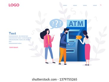People  near ATM machine,  female assistant helping clients,  Vector illustration, perform financial transactions using ATM. Consultant near automated teller machine for customer with coins around.
