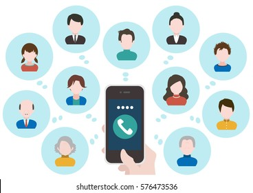 People and network communication concept