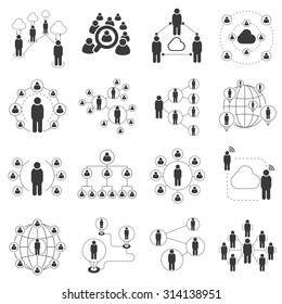 people network icons, connecting people set, communication network icons set