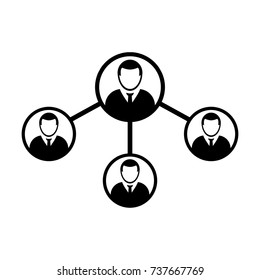 People Network Social Connection Icon Vector With Male Person Avatar Symbol for Multiple Sharing for Business and Teamwork in Flat Icon Glyph Pictogram illustration