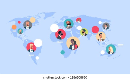 people network world map chat bubbles global communication teamwork connection concept avatar mix race man woman faces flat cartoon character portrait horizontal vector illustration