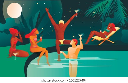 People at Night Swimming Pool or Tropical Beach Cocktail Party -Banner or Poster Concept. Young Men and Women Group, Friends having Summer Vacation Holiday Fun. Flat Vector Illustration Background.