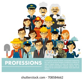 People occupation characters set in flat style isolated on white background. Different people professions characters standing together.