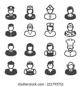 people occupation icons, mono vector symbols