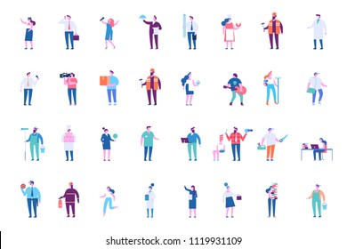 People occupations baig vector set. Flat  illustration isolated on white.