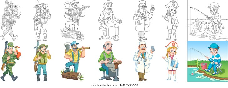People occupations. Cartoon clipart set for kids activity coloring book, t shirt print, icon, logo, label, patch or sticker. Vector illustration.