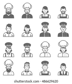 People occupations icons. Cook avatar profile. Vector cooks, cooks uniform, cooks chefs, chefs isolated, cook people. Professions job.