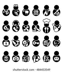 People occupations icons set, vector illustation