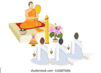 people offering dedicated and yellow candle to Buddhist monks in the buddhist lent day
