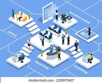 People in office during professional activity isometric multi storey composition on blue background vector illustration