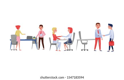 People in the office greet each other. Vector illustration on a white background.