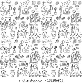 People in office seamless pattern Big group of unrecognizable business people working and creating in the office. Seamless pattern. Black and white doodles vector illustration.