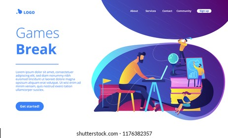 People in office working at the laptop, running presentation and playing golf as a concept of break, office fun, games and stress management. Violet palette. Website landing web page template.