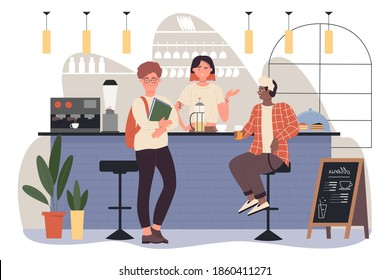 People on bar pub vector illustration. Cartoon woman bartender character working in coffeehouse, standing at bar counter, barista making hot coffee for clients, happy guys friends meeting background