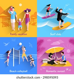People on beach design concept with family vacation surf club flat icons isolated vector illustration