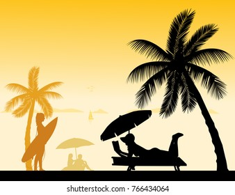 People on the beach and different activities on beach scene silhouette