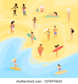 People on the beach. Summer vacation on the sea or ocean. Woman and man in swimsuit sunbathing, surfer have fun on board. Crowd of people relax. Vector illustration in cartoon style