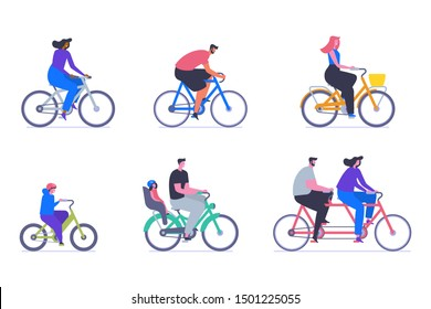 People on bicycles flat vector illustrations set. Adults and children cartoon characters. Personal transport, eco friendly vehicles pack. Man riding cruiser bike, kid on BMX and couple on tandem