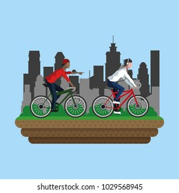 People on bike in the city