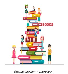 People on Books Pile Isolated on White Background Vector Illustration