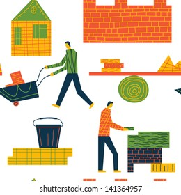 people on the building site vector seamless background