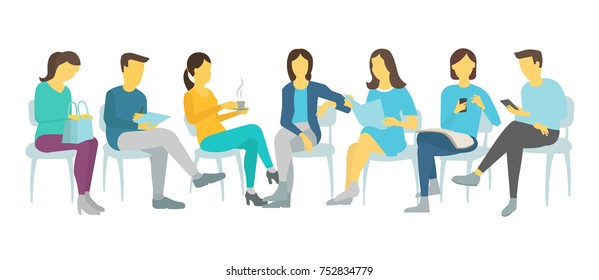 People on chairs sitting. Meeting various poses colleagues working vector flat illustration