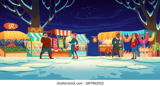 People on Christmas fair with market stalls with candies, santa hats, cakes and gingerbreads. Vector cartoon winter landscape with traditional holiday marketplace with garland lights at evening