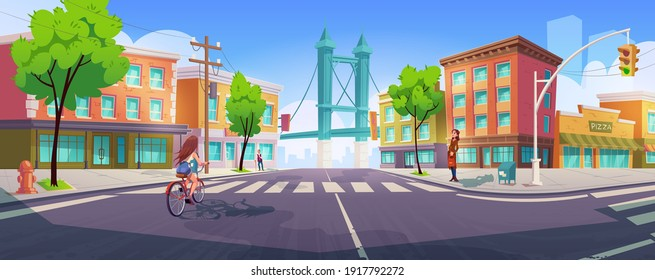 People on city street with crossroad, buildings and bridge. Citizen on transport intersection crossing zebra on bike, enjoy walking. Urban architecture with green trees. Cartoon vector illustration