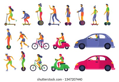 People on city transport. Electric scooter hoverboard, segway and roller skates. Town vehicle and transport car. Urban walking and car transport vector isolated icons illustration set