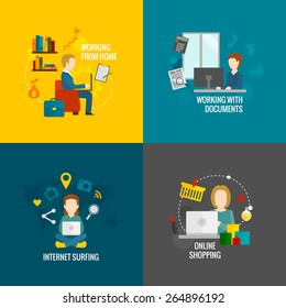 People on computer design concept set working internet surfing online shopping flat icons isolated vector illustration