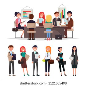 People on corporate meeting sit at table, exchange information and discuss business issues vector illustration isolated on white, cartoon men and women