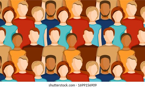 People on horizontal background. Women and men on template for print or web.