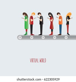 people on the line isolated vector illustration flat design young addicted to smart phone & mobile. funny print & distracted person, Read send messages cell phone & text virtual world. women & men.