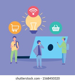 people on line with laptop computer vector illustration design