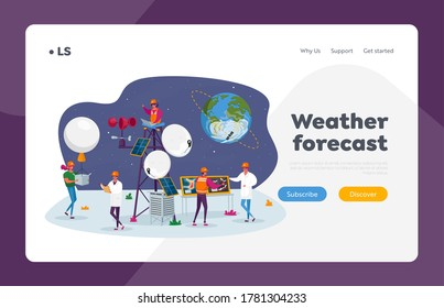 People on Meteorological Station Landing Page Template. Tiny Characters around of Tower, Satellite at Earth Orbit. Workers Set Up Equipment and Probe for Weather Control. Cartoon Vector Illustration