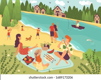 People on picnic outdoor with food and summer leisure, family on grass near trees and river with boat caroon vector illustration. Father, mother and daughter , kids on beach with picnic basket.