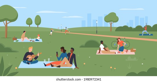 People on picnic in summer city park vector illustration. Cartoon happy family characters sitting on blanket, eating picnic food, mother and child play, young man playing guitar for friends background