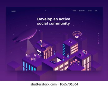 People on the roofs communicating and entertaining. Social networking platform concept. Landing page template. 3d vector isometric illustration.