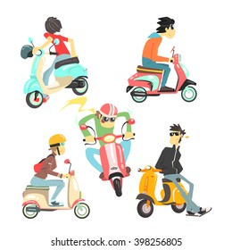 People On Scooters Set Of Isolated Images In Flat Vector Cartoon Style Design