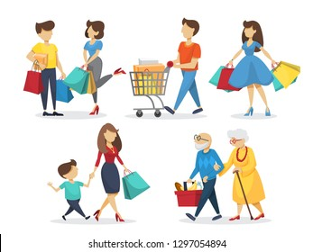 People on shooping set. Grocery and fashion store. Customer with many shopping bags. Couple on big sale. Isolated flat vector illustration
