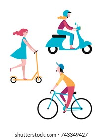 People on the street. Vector set of characters. A girl rides a scooter. A man rides a bicycle. Color image.