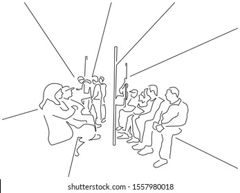 People on the subway isolated line drawing, vector illustration design.