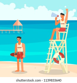 People on summer vacation. Male lifeguards, professional rescuer on the beach. Vector illustration EPS10.