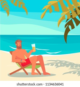People on summer vacation. A young man lies on a lounger drinks a beer and relaxes on a sea beach. Vector illustration eps10