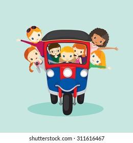 People on tuk tuk driving to travel, journey trips, adventure, transportation