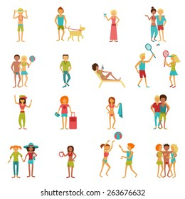 People on vacation beach party summer holidays set isolated vector illustration