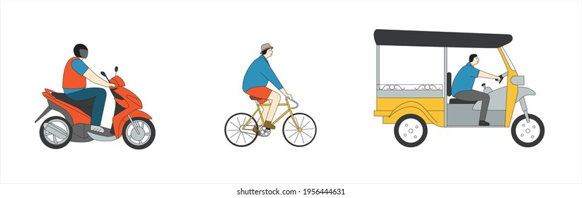 People on vehicles in side view
